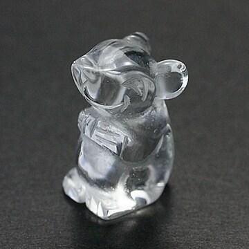☆天然水晶☆彫刻置物☆にっこりねずみ約14×20mm