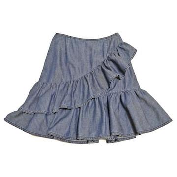 新品プラダ デニム フリルスカート ブルー #38 PRADA