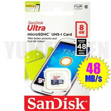 即決新品 48MB/s SANDISK microSDHC 8GB マイクロSDHC CLASS10
