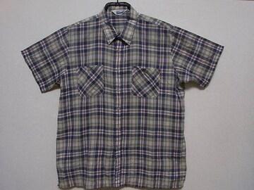 即決!USA古着●鮮やかチェックデザイン半袖シャツ!ヴィンテージ