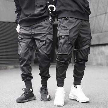 【ブラック/XLサイズ】カーゴパンツ ベイカーパンツ