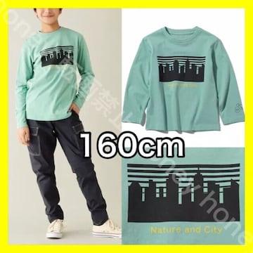 ニューヨークNYグラフィックロングTシャツ●160cm●グリーン