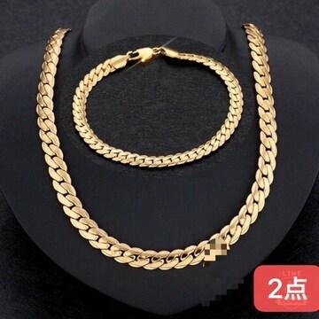 18KGPゴールド 喜平ネックレスとブレスレット