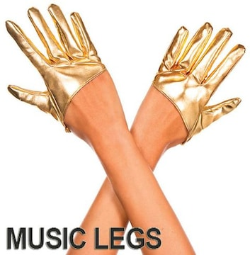 A618)MusicLegsウェットルックショートグローブゴールドハーフグローブダンスボンテージ