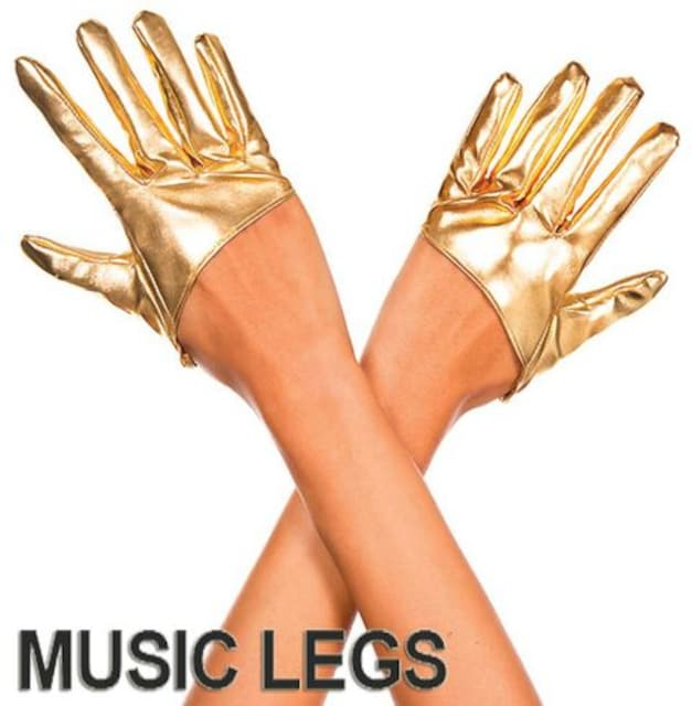 A618)MusicLegsウェットルックショートグローブゴールドハーフグローブダンスボンテージ  < 女性ファッションの