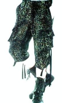 新品ROENロエン ラメ加工レオパードコーティングクロップドカーゴパンツ 28