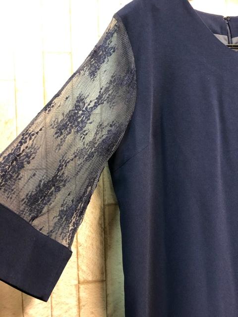 新品☆3Lストンとしたシルエットのフォーマルワンピース紺n951 < 女性ファッションの