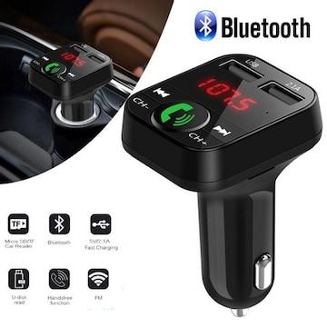 Bluetooth FMトランスミッター ハンズフリースマホ ブラック