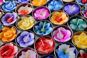 フラワーキャンドル アロマの香り 10個 セット