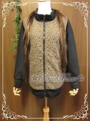 :A4 新品 [5L] 春も使える★BlackレースZIPジャケット*大きいサイズ