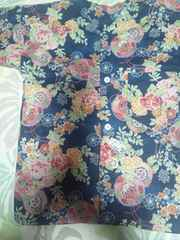 ☆新柄紺×鏡裏牡丹菊花束和柄ダボシャツ110