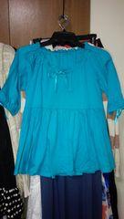 ブルー水色5分袖カットソーAライン綿100%国産M7〜9号