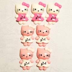 L ☆ 約2.8cm ☆ (2色) 7コ ☆ girl ワンピース キティ ☆ デコパーツ