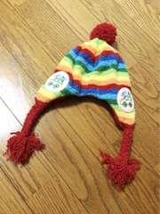 未使用カラフル派手可愛いあったか三つ編み付きニット帽子