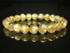 おすすめの一品 タイチンルチル8ミリ数珠ブレスレット 金針水晶