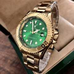 最安値!ロレックス・ヨットマスタータイプ◇クォーツ メタル腕時計・グリーン×ゴールド