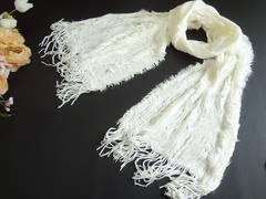 新品 ファー使い マフラー フリンジ 白 ホワイト
