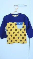 新品 タグ付 ラキエーベ キムラタン 長袖Tシャツ サイズ90 紺×マスタード ドット柄