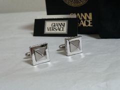 正規美 ヴェルサーチVERSACE グレカ ヴィンテージ スクエア ピラミッド型カフス シルバー