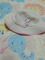 ミキハウスウサギ付きメッシュ帽子ピンク