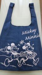 ミッキー ミニーのデニムバッグ