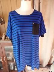 新品ボーダークルーTシャツ4L