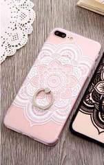 新品 iPhone7 iPhone8用 大きなお花のケース ホワイト�E