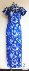 美品★ロング チャイナドレス 青 光沢生地 銀色刺繍 32 M