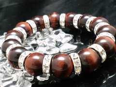 レッドタイガーアイ赤虎目石銀ロンデル12ミリ数珠