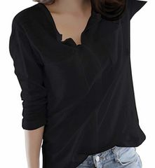 Vネック カットソー スキッパーシャツ (黒、2XLサイズ)