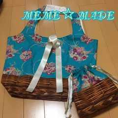 ハンドメイド*折りたたみトートバッグ×巾着袋*和柄青緑×カゴ