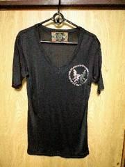ROENロエン コレクションラインスワロメタルコインクロスウルフシルクVネックTシャツ 46