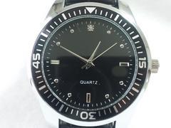 8054/未使用品ダイバー型デザインメンズ腕時計CZダイヤモンド付き