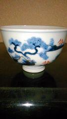 江戸期…古伊万里染め付け金彩松絵茶碗窯印
