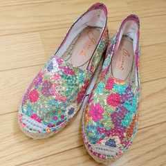 gaimoガイモ スペイン製エスパドリーユ 36(23.0位)花柄リゾート麻ジュート靴シューズ