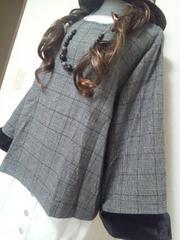 大きいサイズ★秋グレンチェック柄×袖口ファー★大人綺麗★長袖P04L