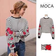 MOCA★ローズ刺繍スウェットプルオーバー