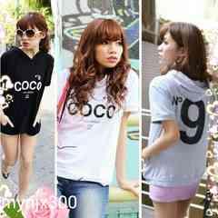 大きいサイズセレブカジュアルN9COCOロゴパーカーTシャツ190/4L黒