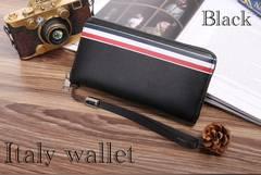 長財布 財布 レザー  イタリア ツートン 札 小銭 カード入れ 黒