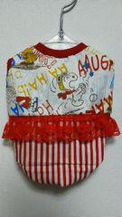 ハンドメイドスヌーピーTシャツアルファベット柄・赤・フリル・ストライプ・犬S