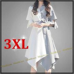 〜3L【大きいサイズ】配色&異素材切替☆アシメントリーフレアワンピ