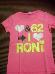 RONI・デカロゴ半袖Tシャツ・ピンクM130