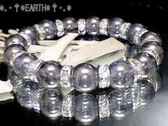 天然石★10ミリ銀色爆裂水晶・銀色ロンデル数珠オラオラ数珠