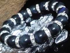ブルータイガーアイ12ミリ銀ロンデル鷹目石数珠