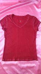 ★GAP赤レッド×ピンクステッチ♪綿コットンVネック半袖Tシャツ