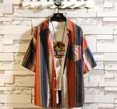 ストライプシャツ 半袖 メンズ カジュアルシャツ シャツ/WAK42