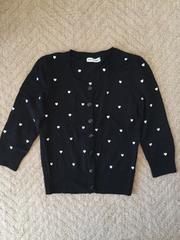 ハート刺繍 ブラック/黒 カーディガン 7分丈 Mサイズ 新品