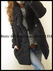 今期新作item入荷124人気完売ボリューム襟暖かコート BK