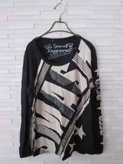 即決/ビジューロゴ長袖Tシャツ/黒/大きいサイズ/3L