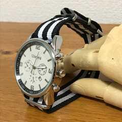 ★腕時計★ストライプラインナイロンベルトウォッチ★黒★